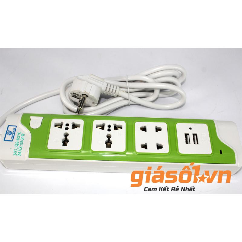 Bảng giá Ổ cắm 3 lỗ,2 cổng USB có nút tắt mở QS-637C (Xanh lá)