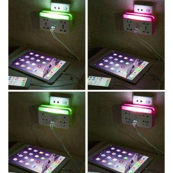 Ổ cắm điện có đèn LED và cổng USB kiêm giá đỡ điện thoại (Hồng)