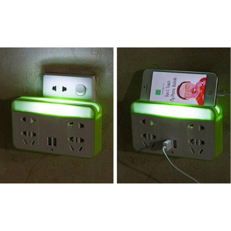 Bảng giá Mua Ổ cắm điện có đèn LED và cổng USB kiêm giá đỡ điện thoại (Xanh lá)