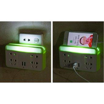 Ổ cắm điện có đèn LED và cổng USB kiêm giá đỡ điện thoại (Xanh lá)