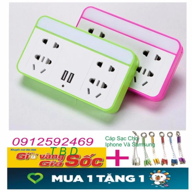 Bảng giá Mua Ổ cắm điện có đèn LED và cổng USB kiêm giá đỡ điện thoại+Tặng cáp sạc