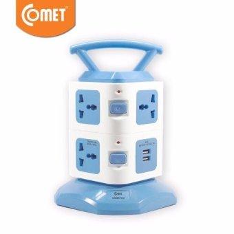 Ổ cắm điện COMET CES6703 (7 lỗ cắm + 2 cổng USB) (Xanh dương nhạt)