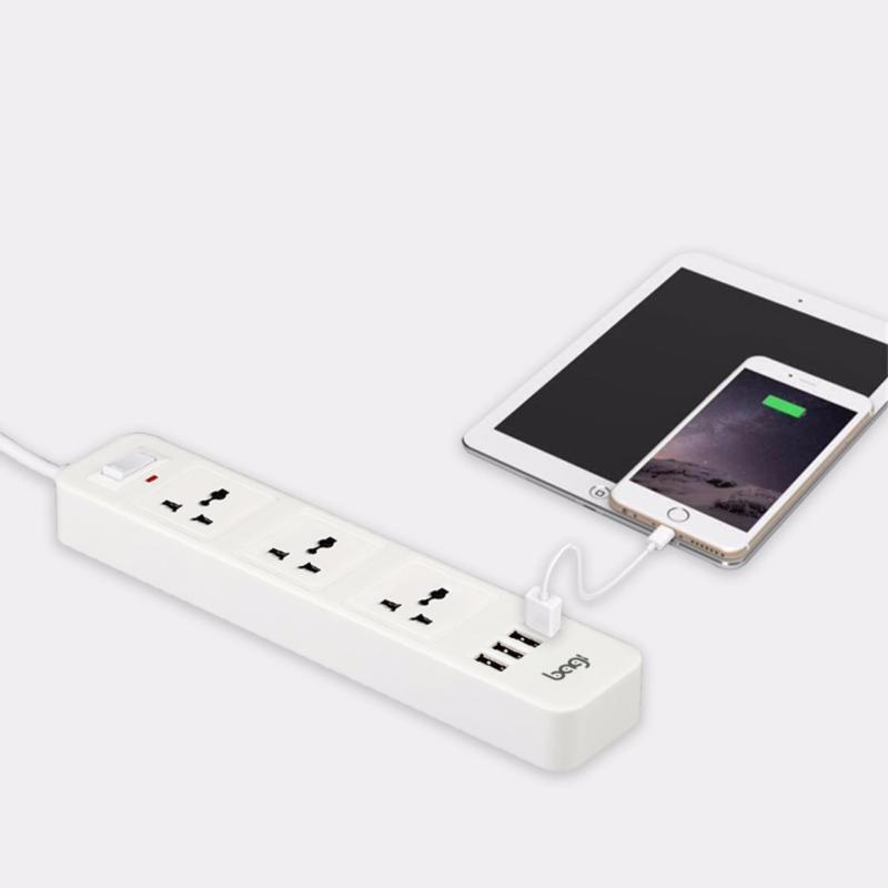 Bảng giá Ổ CẮM ĐIỆN ĐA NĂNG BAGI 3 Ổ ĐIỆN 4 CỔNG USB