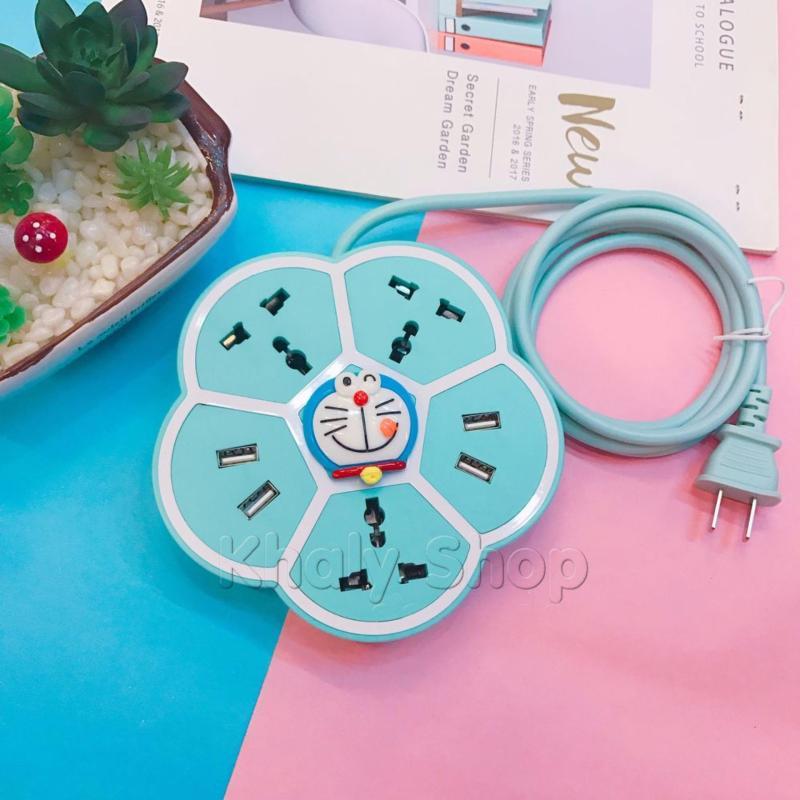Bảng giá Ổ cắm điện đa năng , Ổ sạc , 5 ổ ( 3 ổ ghim điện và 4 cổng usb) kiểu dáng bông hoa hình Doraemon màu xanh dài 1m8 - 310YSK309280 - (14.5x14.5x6.5cm)