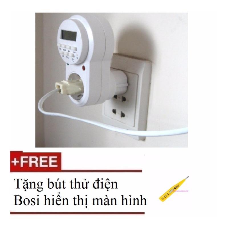 Bảng giá Mua Ổ cắm điện hẹn giờ ETG-63A + Tặng bút thử điện Bosi hiển thị màn hình