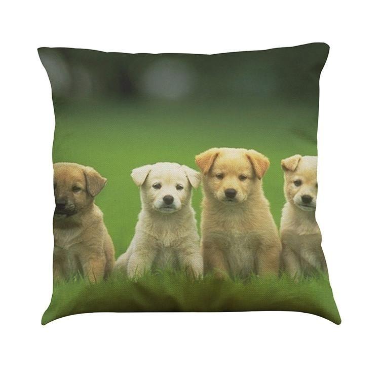Hình ảnh Pet Dog Animal Cotton Linen Throw Pillow Case Cushion Cover Home Decor I - intl