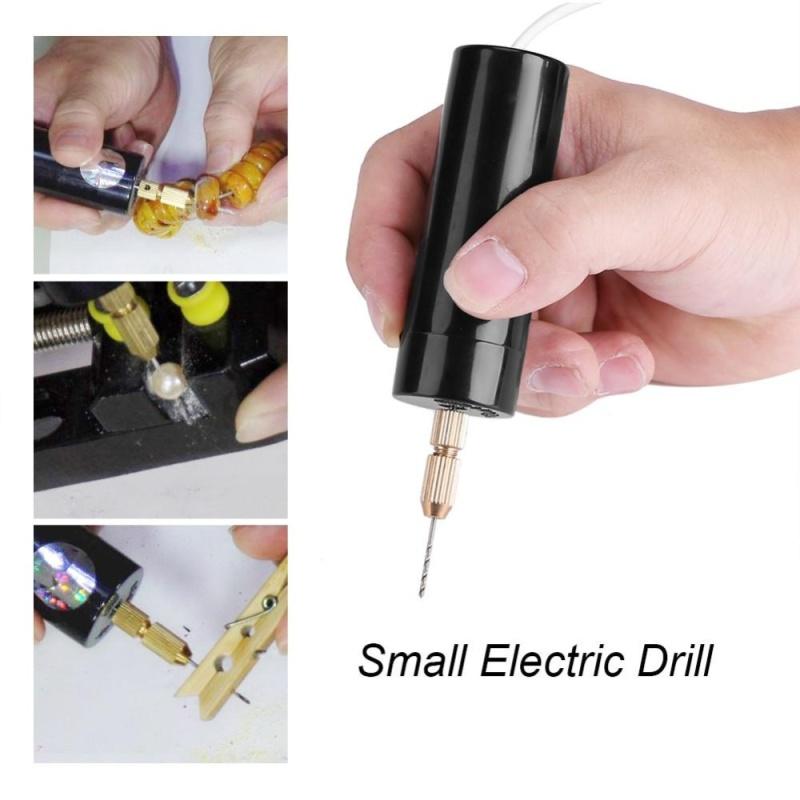 Portable Mini Small Electric Drills Micro USB Drill with 3pc Bits DC 5V - intl