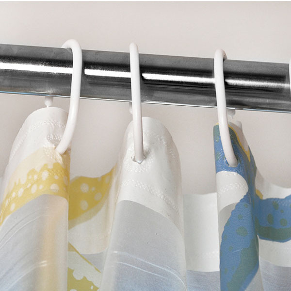 Rèm trang trí phòng tắm họa tiết bãi biển với tàu thủy sò biển sao biển (Intl)