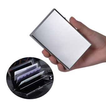 RFID Blocking Stainless Steel Business Name ID Credit Card HolderCase Box Holds 6 Cards Silver - intl