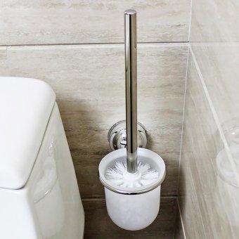 Rổ crôm đính tường giữ cọ vệ sinh Cọ vệ sinh và Đồ giữ cọ vệ sinh kính làm mờ- Quốc Tế