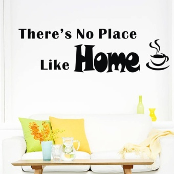 "Romantic Art Decals Sticker Removable ""HOME� Wall stickers Black - intl"