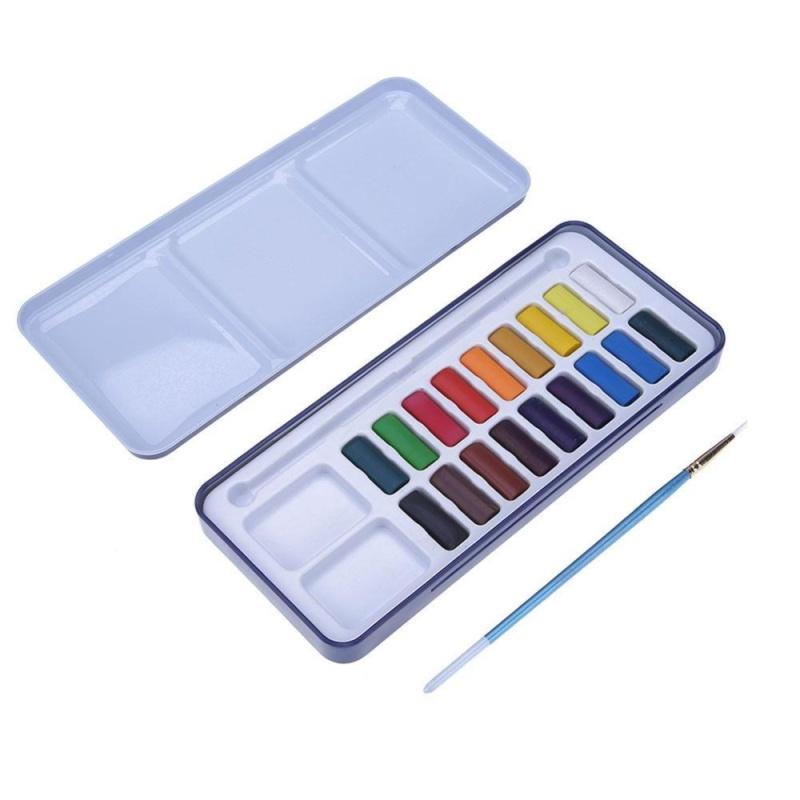 Mua Solid Watercolor Paint Pigments Tablet Set with Paintbrush Metal Box(Multicolor)-18pc - intl