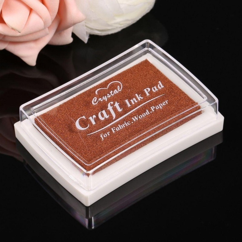Mua Sponge Square Stamps Craft Ink Pad for Paper Wood 15 Colors (Coffee) - intl