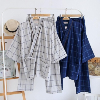 Summer Japanese Style Striped Kimono Yukata Mens Cotton Bathrobecomfortable nightclothes (Size: M) - intl