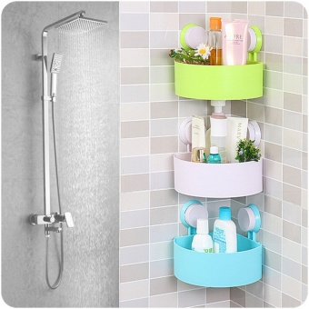 T Triangle Strong Suction Cup, Bathroom Shelf, Bathroom WallHanging, Bathroom Corner Frame, Bathroom Toilet Storage Rack - intl - 2