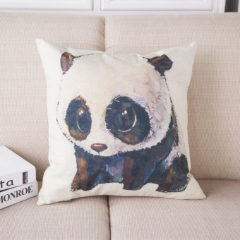 Throw Cotton Linen Pillowcase Cute Panda Printed Sofa Cushion Pillow Cover Bay Window Decor - intl
