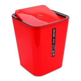 Thùng rác nhựa gia đình cao cấp nắp bập bênh bằng Đỏ RCB21