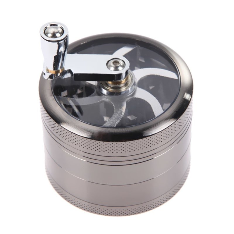 Tobacco Grinder Aluminum Herb Spice Crusher Muller Mill Hand Gray - INTL
