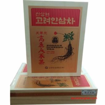 Trà sâm Hàn Quốc - Korean Ginseng Tea hộp gỗ 300g (100 gói x3g)(Kem)