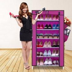 Giá Khuyến Mại Tủ giày dép 7 tầng 6 ngăn bọc vải cao cấp (Hồng tím)