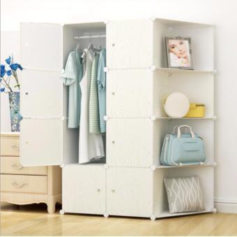 Tủ quần áo nhựa lắp ráp Vân gỗ trắng cao cấp 12 ô có 4 ô kệ bênhông
