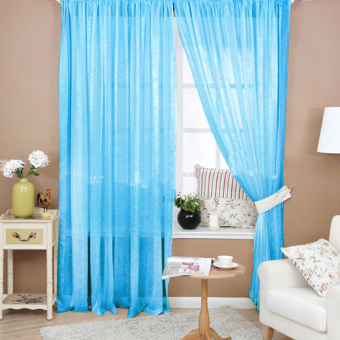 VAKIND Floral Tulle Door Window Curtain (Blue) - intl