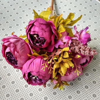 Vintage Artificial Peony Silk Flowers Bouquet Artificial Flowers - intl