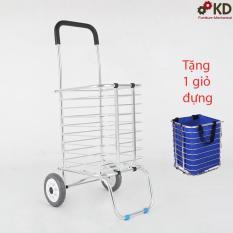 Xe kéo đi chợ đa năng inox K-MARKET MODEL102  Tặng 1 túi giỏ đựng tiện lợi ( Bạc)