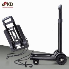 Xe kéo hàng 4 bánh gấp gọn tải trọng 60kg bánh xe cao su chống ồn Ksmart ( Đen )