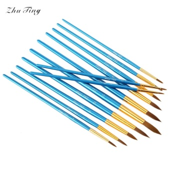 ZhuTing 12pcs Nylon Wool Acrylic Pointed Drawing Brush Pen LinerPainting Nail Art Tool (Blue) - intl