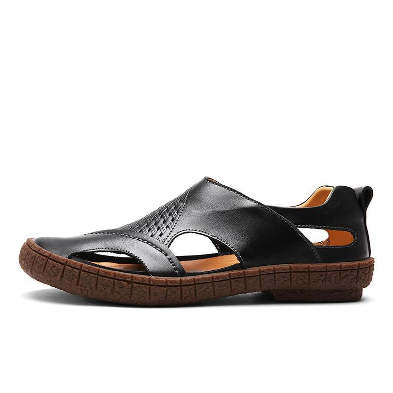 Pinsv Merek Pria Kasual Sepatu Sandal Kulit Asli Sepatu Kasual Pria-Internasional - 2