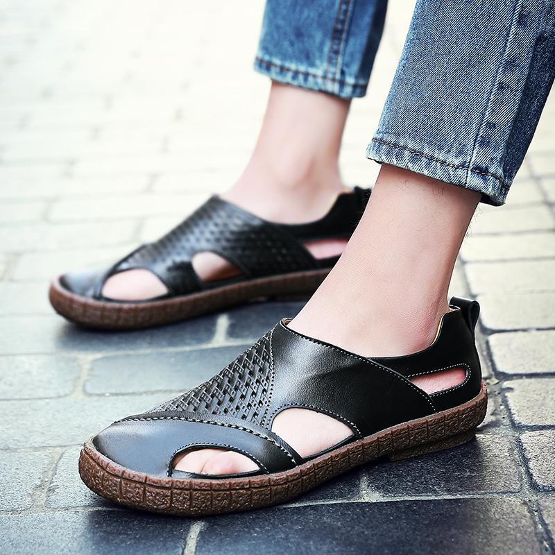 Pinsv Merek Pria Kasual Sepatu Sandal Kulit Asli Sepatu Kasual Pria-Internasional - 5