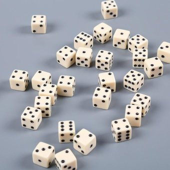 10pcs Dice Dices Square Opaque Die Gambling Game White With BlackPips - intl
