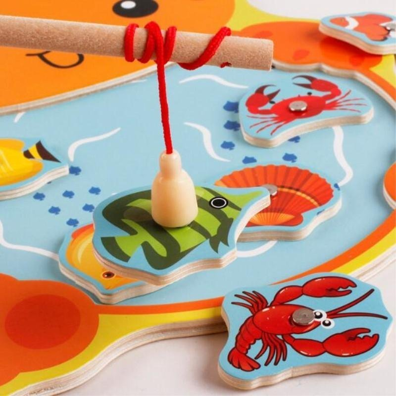 Cat Toy Fish Game : Pcs set wooden toys magnetic fishing game board d jigsaw