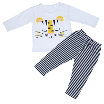 2pcs/set Children Suit Set Home Clothes Stripes Tiger Print Shirt+Pants - intl
