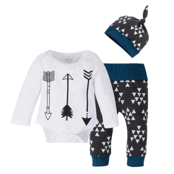 3pcs/set Infant Baby Long Sleeve Arrow Print Romper + Long Pants + Hat - intl