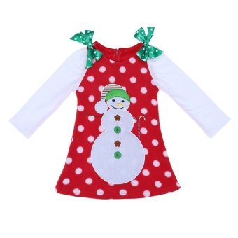 Baby Girl Clothes Toddle Christmas Snowman Dot Bowknot Dress(White)(90) - intl