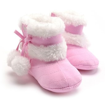 Baby Girls Bowknot Winter Snow Boots (Pink) - intl