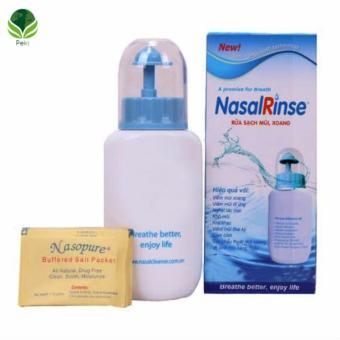 Bình rửa mũi Nasal Rinse + Kèm 10 gói muối chống viêm