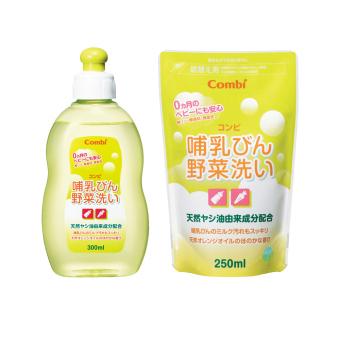 Bộ 1 chai nước rửa bình sữa Combi 300ml + 1 túi nước rửa bình sữa Combi 250ml