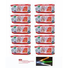 Bộ 10 gói khăn ướt 100 tờ BABYMOMMY + tặng kèm 01 dụng cụ lấy ray tai Flashlight Earpick