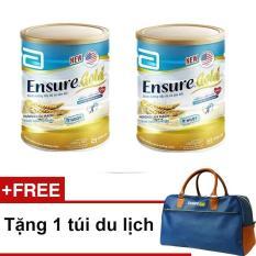 Bộ 2 lon Ensure Gold hương lúa mạch ít ngọt 850g + Tặng túi du lịch
