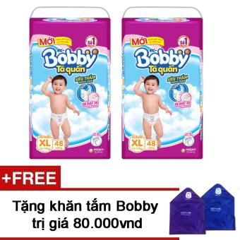 Bộ 2 tã quần Bobby XL48 + Tặng 1 khăn tắm Bobby  tốt nhất