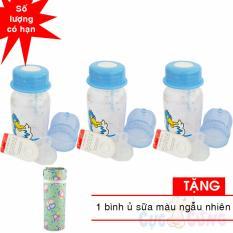 Bảng Báo Giá Bộ 3 bình trữ sữa có kèm núm ty và van chống sặc 140ml họa tiết ngẫu nhiên TẶNG 1 ủ bình sữa màu ngẫu nhiên