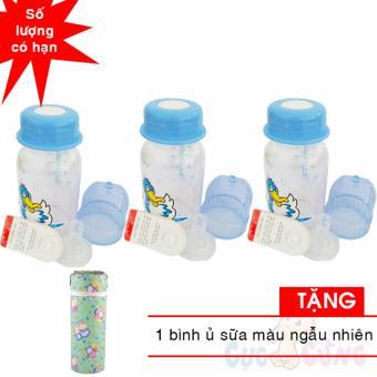 Bộ 3 bình trữ sữa có kèm núm ty và van chống sặc 140ml họa tiết ngẫu nhiên TẶNG 1...
