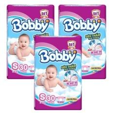 Bộ 3 gói Tã Giấy Bobby Fresh Siêu Mỏng S30.