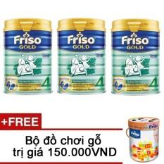 Bộ 3 sữa bột Friso Gold 4 900g + Tặng bộ đồ chơi gỗ trị giá 150.000VND