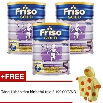 Bộ 3 sữa bột Friso Gold 5 1500g + Tặng khăn tắm hình thú