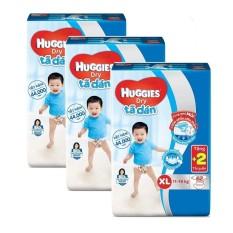 Bộ 3 tã dán Huggies Dry Super Jumbo XL62 62 miếng/ gói (11-16kg) + Tặng 2 miếng tã quần/ gói
