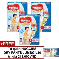 Bộ 3 tã quần Huggies Dry Pants Big Jumbo L54 54 miếng (9 - 14kg) + Tặng 1 tã quần Huggies Dry Pants Big Jumbo L36 trị giá 213.000VND